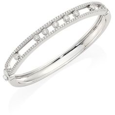 Messika Move Medium Seven Diamond & 18K White Gold Bangle (€11.320) ❤ liked on Polyvore featuring jewelry, bracelets, apparel & accessories, white gold, bracelets bangle, pave bangle bracelet, 18k bangle bracelet, diamond jewelry and pave bangle