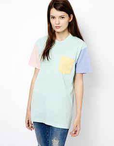 American Apparel Colour Block T-Shirt at ASOS