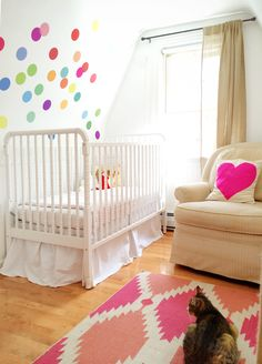 A Lovely Lark: An Update on Lucy's Nursery: Our Cross Stitch Quilt in Pink looks right at home