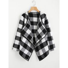SheIn(sheinside) Gingham Plaid Waterfall Neck Coat (80 RON) ❤ liked on Polyvore featuring outerwear, coats, black and white, tartan coat, waterfall coat and plaid coat