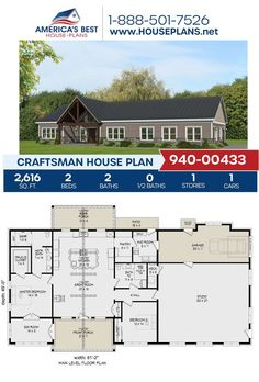 Build a beautiful ranch design covered in Craftsman details. Plan 940-00433 is featured by 2,616 sq. ft., 2 bedrooms, 2 bathrooms, a large studio, the split bedroom layout and a mud room. Learn more about this Craftsman design on our website. Craftsman Style Homes, Craftsman House Plans, Bedroom Layouts, Architectural Elements, Mudroom, Front Porch, Cover Design, Floor Plans, House Design