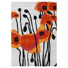 $279.95 Wool 5' x 8' Rug in Pencil Grey, Orange, Rust, Red and Black