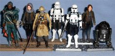 Hasbro - Star Wars Rogue One Figures Jedha Revolt - Saw Gerrera, Sergeant Jyn Erso, Edrio Two Tubes, and Imperial Hovertank Pilot AT-ACT - Imperial AT-ACT Driver, Sergeant Jyn Erso, and C2-B5