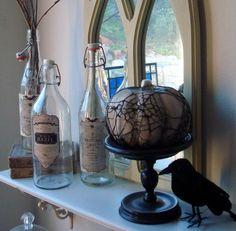 Spiderweb Lace & Bottle Labels #Pumpkin #Bottles #Classy #Decor #Halloween