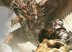 Warrior fighting a dragon I think this is taken from a game, Monster Hunter maybe ? Dragon Fight, 7th Dragon, Dragon Art, Gold Dragon, Monster Hunter Art, Fantasy Creatures, Mythical Creatures, Monster Hunter World Wallpaper, Monster Hunter