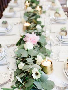 Eucalyptus and anemone covered table decor: http://www.stylemepretty.com/2016/10/19/modern-atlanta-restaurant-wedding/ Photography: Sawyer Baird - http://www.sawyerbaird.com/