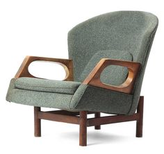 1960s Lounge Chair with architectural Teak frame
