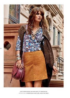 A suede skirt is a popular look for the fall season