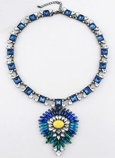 Blue Gemstone Retro Silver Diamond Necklace pictures