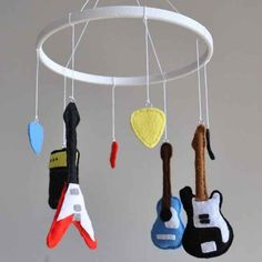 Crib mobile / Baby mobile - Nursery decoration - Guitars - Electric and Acoustic Guitar, Amplifier, Picks, Instruments Music Nursery, Nursery Decor, Guitar Nursery, Nursery Room, Baby Boy Rooms, Baby Boy Nurseries, Babies Nursery, Baby Bedroom, Baby Bedding