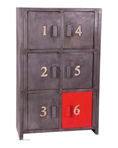 Grey steel with numbers and red door
