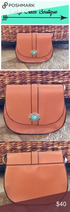 | new | Southwest Crossbody Body of the bag is 100% brown colored polyurethane & inside lining is 100% polyester, has flap with a snap closure, adjustable strap, inside is one open area (no zip or slip pockets), has beautiful turquoise embellishment on the front. 9.75in(L) 8.5in(H) 4in(W) ▪️No trades ▪️No offers ▪️Twitter: @My_LatestCraze Latest Craze Boutique Bags Crossbody Bags