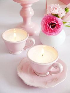 """Pink Vintage Tea Cup Candles perfect for a Tea Party or Bridal Shower 