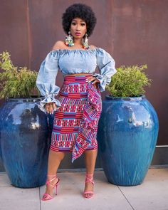 High Waist Skirt With Front Rows Beautiful Ankara Styles, Ankara Skirt, Latest Ankara Styles, Single Women, Single Ladies, Aso Ebi Styles, African Dress, Fashion Pictures, Skirt Fashion