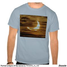 Partial eclipse of the moon shirt - Click on photo to view item then click on item to see how to purchase that item. #tshirts #eclipse #solareclipse #recovery #therapy #heartattackrecovery #zazzle