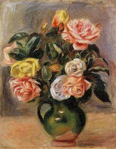 Bouquet of Roses by Pierre-Auguste Renoir Size: 40.6x31.75 cm Medium: oil on canvas
