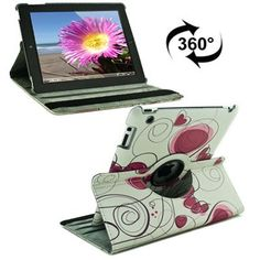 For+iPad+4/3/2+360+Degree+Rotation+Flower+Pattern+Flip+Leather+Case+with+Holder