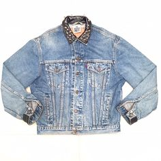 LF VINTAGE LEVIS SPIKED DENIM JACKET! LF & THE RAGGED PRIEST collaboration denim jacket! Spikes surrounding the collar with black leather sewn onto collar and end of sleeves! LF Jackets & Coats Jean Jackets