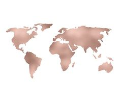 World Map Rose Gold Shimmer