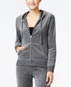 Hippie Rose Juniors' Zip-Front Velour Hoodie - Gray S