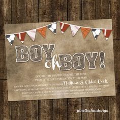 Twin Boys Sports Bunting Baby Shower Invitation Digital Printable or Printed, ANY color ANY wording on Etsy, $15.00