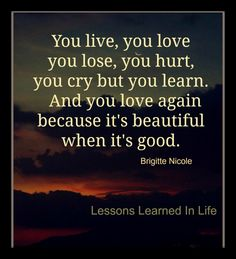 You live, you love, you lose, you hurt, you cry but your learn. And you love again because it's beautiful when it's good. ~Brigitte Nicole