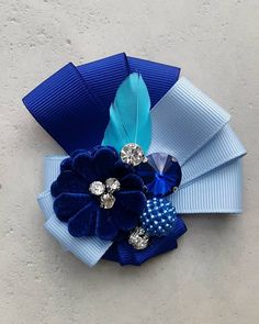The best gift for friends, for mother, for sister. Wonderful brooch for your jackets, dress and blouse. Made of blue rep ribbons. The width of rep ribbon is 2 cm. The size of brooch - x cm. The brooch is decorated w red and black brooch. brooch with crys Making Hair Bows, Diy Hair Bows, Diy Bow, Diy Ribbon, Ribbon Crafts, Ribbon Bows, Blue Ribbon, Ribbons, Ribbon Jewelry