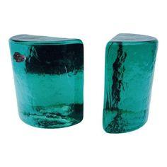Image of Green Blenko Art Glass Half Moon Bookends - A Pair - Chairish.com - $158