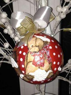 """Новый год 2015 ручной работы. Ярмарка Мастеров - ручная работа ПРОДАН!!!! Новогодний шар """"Веселые мишки"""". Handmade."""