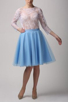 Circle tulle skirt, Handmade tutu skirt, High quality skirt, baby blue skirt, petticoat