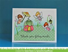 Lawn Fawn Fairy Friends Card by Lynnette Kauffman (simple stitched hillside border)