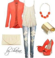 Salmon and lace, created by shauna-rogers on Polyvore
