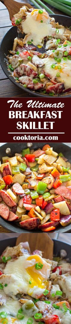 Enjoy this delicious Ultimate Breakfast Skillet made with eggs, potatoes, sweet peppers, onions, kielbasa and, of course, some melted cheese on top. ❤ COOKTORIA.COM