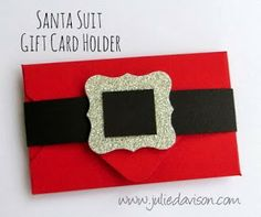 Julie's Stamping Spot -- Stampin' Up! Project Ideas Posted Daily: Envelope Punch Board: Santa Suit Gift Card Holder
