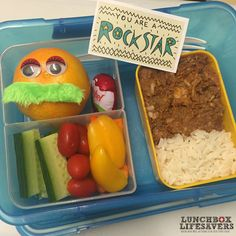 Xav had a tough rugby match yesterday and I was sure he was going to wake up very sore & stiff this morning. So I made an extra special #FunInLunch for him as I packed the lunchboxes last night ... Left over lamb curry anyone?!  A blob of glue to hold each googly eye in place, and this is one of those stick-on moustaches that I use for dressing up lunches in Mo-vember. I am sure he's going to have some fun with that!!