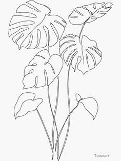 Embroidery Art, Embroidery Patterns, Leaf Drawing, Line Drawing Art, Botanical Line Drawing, Outline Art, Flower Outline, Outline Designs, Mural Art
