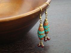 Tibetan Turquoise & Garnet Earrings