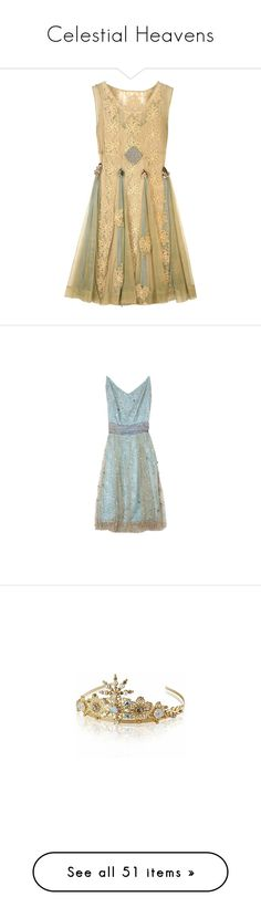 """Celestial Heavens"" by ambre-moon ❤ liked on Polyvore featuring dresses, vestidos, short dresses, vintage, vintage cocktail dresses, net mini dress, netted dress, vintage beige dress, beige cocktail dress and blue"
