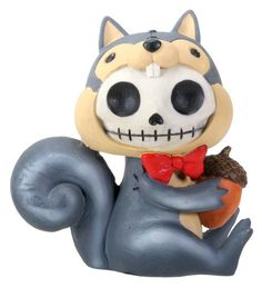 Furrybones® Nibbles is a resin figurine featuring the signature skeleton Furrybones dressed up as a Squirrel. He is holding an acorn in his hands. Makes a great gift! Made of cold cast resin. Hand pai