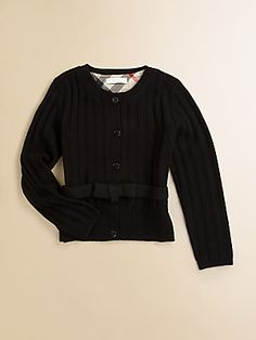 Vic would love this:Burberry Girl's Bow Cardigan