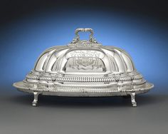Paul Storr's characteristic attention to detail is evident in this Regency silver meat dish ~ M.S. Rau Antiques