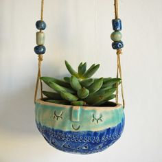Image of hanging bowl planter//blue +turquoise