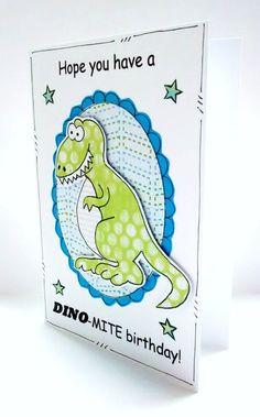 Birthday Card Dinosaur  Kid's Children's by CraftyMushroomCards