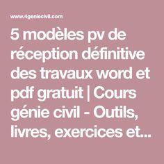 5 modèles pv de réception définitive des travaux word et pdf gratuit | Lecture de plan, Modele ...
