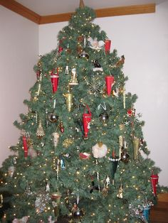 Molly Matheson's tree is adorned with homemade ornaments, in the shape of cones, that her grandmother made 50 years ago.
