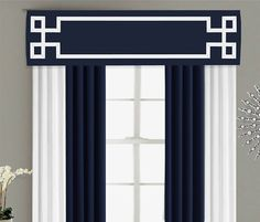 Greek Key Valance Cornice Board Pelmet Box Window Treatment in Navy Blue with White Ribbon Banding Trim - Custom Valance Curtain Topper Valances & Cornices, Cornice Box, Window Cornices, Cornice Boards, Pelmets, Home Curtains, Valance Curtains, Drapery, Curtain Trim
