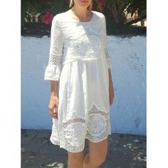 SHARE & Get it FREE | Scoop Neck 3/4 Sleeve Lace Splicing Dress For WomenFor Fashion Lovers only:80,000+ Items • FREE SHIPPING Join Twinkledeals: Get YOUR $50 NOW!