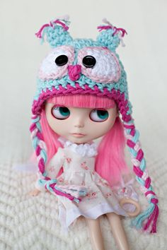 Pink and Aqua Owl Hat for Blythe Dolls by ValsSweetNothings, $20.00