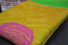 Yellow Kuppadam Tissue Saree with Roses/Leaves Pattern all over - Aliveni  - 4