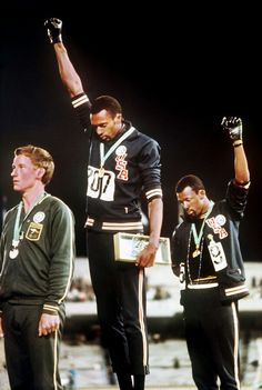 L to R Peter Norman (Aus), Tommie Smith and John Carlos (USA)
